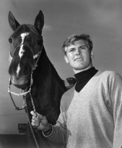 Tab Hunter and his horse Swizzlestick1956Photo by Jack Woods - Image 0961_0838