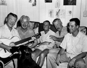 "James CagneyW. Powell, H. Fonda, W. Bond, J. Lemmonon set of ""Mister Roberts""1955 Warner - Image 0969_0008"