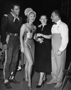 """James Cagney with sister Jeanne Cagney, Gregory Peck (relaxing during a break in his Warner film, """"Only the Valiant"""") and Virginia Mayo at Warners while """"The West Point Story"""" was shooting1950 Warner BrothersPhoto by Mac Julian - Image 0969_0037"""