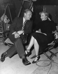 """James Cagney and Virginia Mayo between scenes during the making of """"White Heat""""1949 Warner BrothersPhoto by Frank Bjerring - Image 0969_0047"""