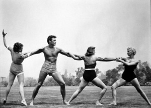 Clint Eastwood with U-I classmates Jane Howard, Myrna Hansen and Dani Crane1955 Universal** I.V. - Image 0973_0793