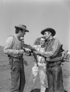 "Clint Eastwood with Eric Fleming and photographer, Roy Cummings, during the making of ""Rawhide""1961© 1978 Roy Cummings - Image 0973_0948"