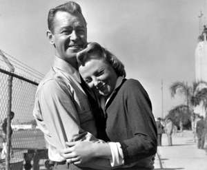 """June Allyson and Alan Ladd on the set of """"The McConnell Story""""1955 - Image 0983_0061"""