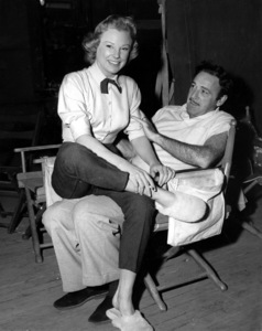 "June Allyson and Dir. Gordon Douglas on the set of""The McConnell Story""1955 - Image 0983_0062"