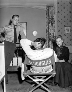 """June Allyson and Alan Ladd with Dir. Gordon Douglas on the set of """"The McConnell Story""""1955 - Image 0983_0063"""