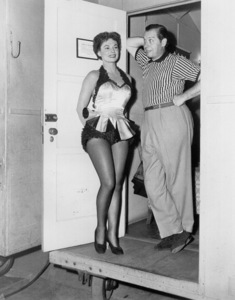 Milton Berle with Ruth Roman backstageof