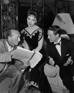 "Director Michael Curtiz, Ann Blyth and Paul Newman on the set of ""The Helen Morgan Story""1957 Warner BrothersPhoto by Mac Julian - Image 0997_0034"