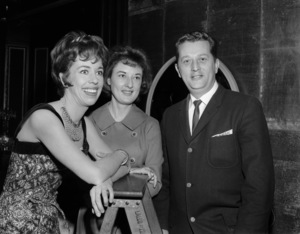 """Carol Burnett with photographers, Roy and Jean Cummings, on the set of, """"The Twilight Zone"""" (Episode: Cavender Is Coming)1962© 1978 Roy Cummings - Image 1000_0194"""