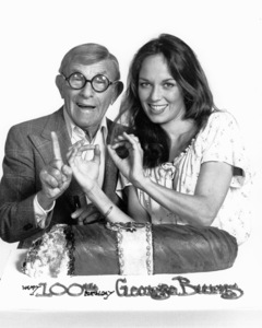 "George Burns and Catherine Bach on theset of ""The Dukes of Hazzard,"" c. 1982.Photo by Gabi Rona - Image 1001_0615"