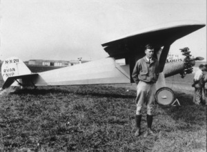 Charles Lindberghprior to Transatlantic flight (with Spirit of St. Louis)Curtis Field, 1927 - Image 10186_0003