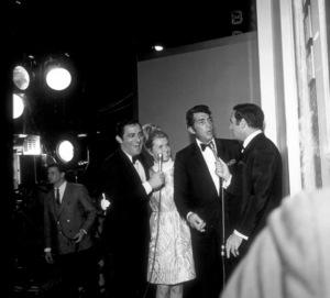 """Dr. Dolittle"" Premiere Party,Corbet Monica,  Dean Martin, wife Jeanne,& Joey Bishop.  1968. © 1978 Larry Kastendiek - Image 10551_0003"