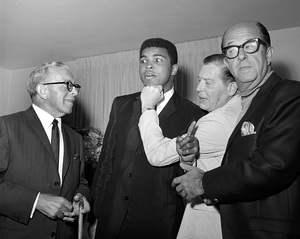 George Burns, Muhammad Ali, Milton Berle and Phil Silvers fooling around at a Warren Cowan party1966 © 1978 Larry Kastendiek - Image 10635_0002