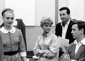 """Bobby Van with Vic Damone, Shirley Jones and Connie Stevens in the recording studio for """"I Feel a Song Coming On""""1965 © 1978 Bernie Abramson - Image 10748_0002"""
