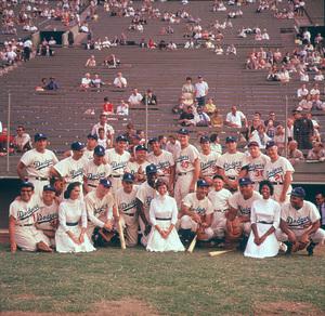Celebrity Baseball, M.Rooney, E.Robinson, N.Cole, D.Thomas, B.Barty, J.Lewis, S.Cahn, R.Montalban, C.Connors 1959 L.A. Ca © 1978 Bernie Abramson / MPTV - Image 10752_0001