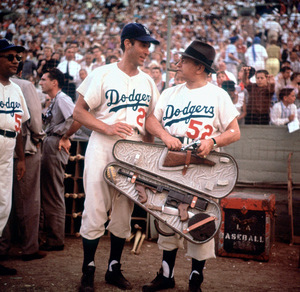 Celebrity Baseball 1959:Ricardo Montalban and Edward G. Robinson © 1978 Bernie Abramson - Image 10752_0002