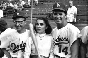 """Celebrity Baseball""Sammy Cahn with wife Gloria Cahn and James Garner1959 © 1978 Bernie Abramson - Image 10752_0022"