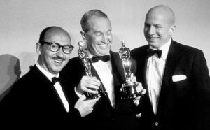 """Academy Awards: 30th Annual,"" Sammy Cahn, Maurice Chevalier, James Van Heusen. 1958. © 1978 Sid Avery - Image 10764_0007"