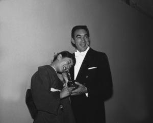 """Academy Awards - 30th Annual""Miyoshi Umeki, Anthony Quinn1958 © 1978 Bernie Abramson - Image 10764_0061"