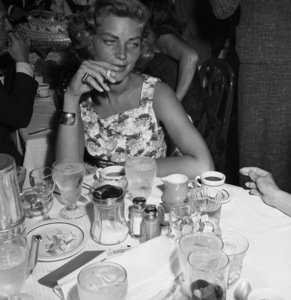Lauren Bacall at a bon voyage party for Patsy and Rose D