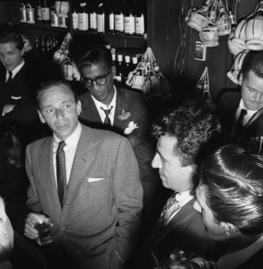 Bill Miller, Frank Sinatra and Sammy Davis Jr. at a bon voyage party for Patsy and Rose D