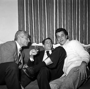 Tony Curtis and Jeff Chandler celebrating Sammy Davis Jr.