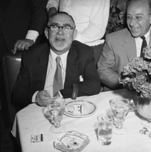 Swifty Morgan and George Raft at a bon voyage party for Patsy and Rose D
