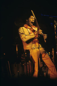 Jimi Hendrix performing at the Fillmore East in New York City on New Year