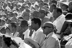 Frank Sinatra, Dean Martin and Jim Mahoney at a 1959 World Series game between the Los Angeles Dodgers and the Chicago White Sox © 1978 Bernie Abramson - Image 10803_0004