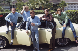 The Beach Boys (Mike Love, Al Jardine, Bruce Johnston, Carl Wilson, Dennis Wilson) and their Jaguar 3.8 Scirca 1966 © 1978 Gunther - Image 10841_0002