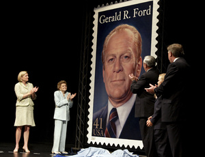 Betty Ford at the USPS Gerald Ford stamp unveiling in Rancho Mirage, CA with Susan Ford Bales2007© 2007 Michael Jones - Image 10856_0035