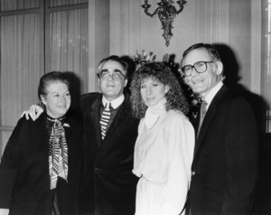 "Marilyn Bergman, Michel Legrand, Barbra Streisand and Alan Bergman at a press conference for ""Yentl"" at the Paris Grand Hotel, Paris, France. March 21, 1984** B.D.M. - Image 10874_0003"
