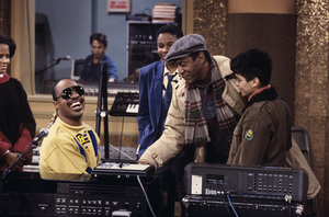 """The Cosby Show"" Malcolm-Jamal Warner, Stevie Wonder, Bill Cosby, Stevie Wonder © 1984 Gene Trindl - Image 10894_0132"