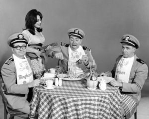 """Joe Flynn, Ernest Borgnine and Tim Conway in """"McHale"""