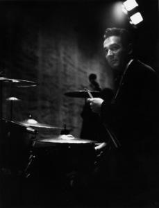 Gene Krupa backstage at the Shrine Auditorium for Norman Granz