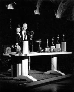 "Edgar Bergen, Charlie McCarthy""Academy Awards - 9th Annual,"" 1938.Copyright John Swope Trust / MPTV - Image 11010_0003"