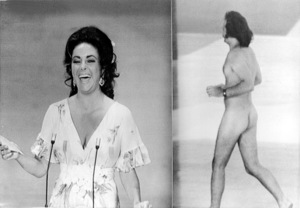"""""""Academy Awards - 46th Annual""""Elizabeth Taylor on stage to present an Oscar shortly after a streaker (Robert Opal) dashed across the stage1974 - Image 11016_0002"""