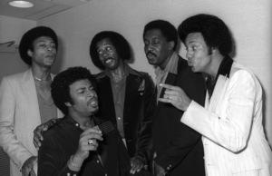 The Temptations in the Soul Train dressing room (Melvin Franklin, Otis Williams, Richard Street, Glenn Leonard, Dennis Edwards)circa 1978© 1978 Bobby Holland - Image 11308_0006