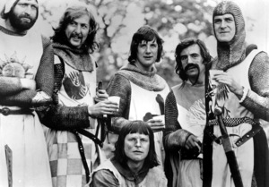 """""""Monty Python and the Holy Grail""""Eric Idle, Michael Palin, John Cleese, Terry Gilliam (sitting)1975 EMI / Python Pictures - Image 11523_0001"""