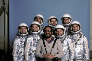 """The Right Stuff""Lance Henriksen, Scott Paulin, Scott Glenn, Fred Ward, Ed Harris, Dennis Quaid, Charles Frank, photographer Ron Grover (center)1983 © 1983 Ron Grover - Image 11824_0002"