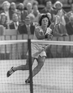 """Billie Jean Kingduring the """"Battle of the Sexes"""" Tennis match against Bobby Riggs at the Houston Astrodome9-20-1973 © 1978 Gunther - Image 11872_0003"""