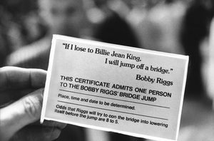 """Bobby Riggsquote card held by a fan at the """"Battle of the Sexes"""" Tennis match against Billie Jean King9-20-1973 © 1978 Gunther - Image 11873_0010"""