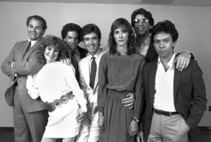 """Thicke of the Night""Richard McManus, Chloe Webb, CharlesFleischer, Alan Thicke, Isabel Grandin, Richard Belzer, Gilbert Gottfried © 1983 Ron Grover - Image 11914_0001"
