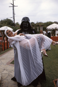 """Vidal Sassoon Fashion Show""Darth Vader holding model 1977 © 1978 Gunther - Image 11943_0001"
