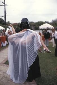 """Vidal Sassoon Fashion Show""Darth Vader holding model 1977 © 1978 Gunther - Image 11943_0002"
