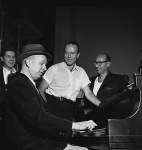 """""""The Frank Sinatra Timex Show"""" (Bing Crosby and Dean Martin Present High Hopes) Bill Miller with Jimmy Van Heusen and Sammy Cahn behind the scenes 1959 © 1978 Gene Howard - Image 1198_0034"""