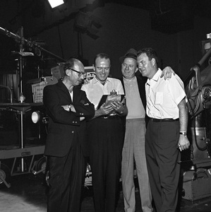"""""""The Frank Sinatra Timex Show"""" (Bing Crosby and Dean Martin Present High Hopes) Sammy Cahn with Jimmy Van Heusen and Nelson Riddle behind the scenes 1959 © 1978 Gene Howard - Image 1198_0035"""