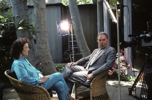 "Robin Leach with Jane Russell on ""Lifestyles of the Rich and Famous""1986 © 1986 Gunther - Image 12034_0010"