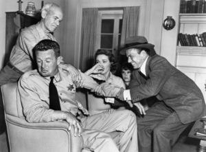 "James Gleason, Sterling Hayden, Nancy Gates, Kim Charney and Frank Sinatra in ""Suddenly""1954 United Artists** I.V. - Image 12046_0006"