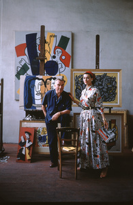 Fernand Leger with British model Anne Gunning in his Paris studio1955 © 2001 Mark Shaw - Image 12052_0007