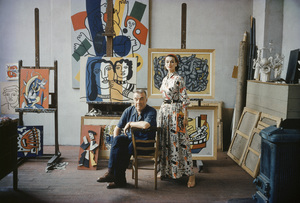 Fernand Leger with British model Anne Gunning in his Paris studio1955© 2007 Mark Shaw - Image 12052_0010